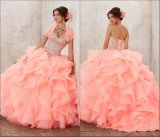 Шарик Gowns Organza коралловых тюль Crystal Quinceanera платье Z7017
