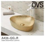 Tendenzen niedrige Pric goldene Kunst-Bassin-Farben-Bassin-Badezimmer-Eitelkeit