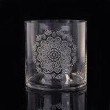 曇らされた花のロゴの縦のまっすぐ囲まれたガラスハリケーンの大きい蝋燭ホールダー