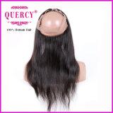 Approvisionnement en usine Cheveux humains brésiliens 22,5 X 4 X 2 Soie rectiligne 360 Lace Frontal
