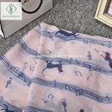 Signora calda Fashion Voile Scarf di vendita 2017 con lo scialle del gatto della nota di musica