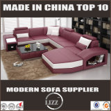 Sofá de couro moderno de luxo para sala de estar