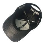 Gorra de béisbol negra del deporte del algodón de la PU con bordado de encargo