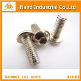 Venta caliente ISO7380 M6 * 35 Botón de acero inoxidable cabeza hebilla hembra tornillo
