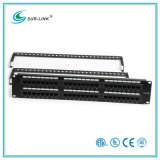 CAT6A 48 Port UTP Patch Panel com barra traseira