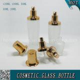 Garrafa de spray de vidro cosmético fosco com tampas de ouro rosa