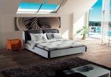 Venda quente moderna cama em pele genuína (SBT-5801)