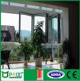Fenêtre pliante à profil en aluminium avec grande fenêtre en verre trempé