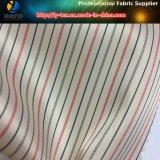 Blanco / amarillo traje manga guarnición, hilo teñido raya tela (111.125)