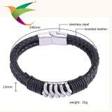 Monili del Mens del braccialetto dell'argento del cuoio di modo Stlb-17011011