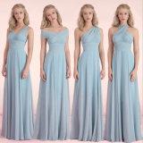 Обратимая шифоновая плиссированная длина пола линия платье Bridesmaid