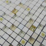 浴室の壁のための熱い販売の黄色カラー大理石の混合されたガラスモザイク