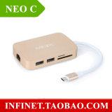 Nouvelle vente Smart Consumer Electronics Minix Neo C Type-C Hub de charge Sortie HDMI USB-C Splitter à USB3.0 RJ45