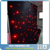 4X6mの結婚式の装飾のための黒いカーテンの赤灯LEDの星のカーテン