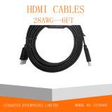 Câble plat de HDMI dans la couleur noire