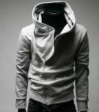 Cappotto del panno morbido della chiusura lampo del basamento degli uomini propensi incappucciati casuali del collare