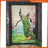 Art décoratif de peintures de paon avec la peinture à l'huile de toile de bâti