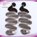 Cheveu de trame de la couleur 1b/Grey d'Ombre d'onde de corps de cheveu brésilien de bonne qualité de Vierge