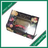 Caixa de embalagem de papel para as frutas com tampa transparente (Floresta Embalagem 011)