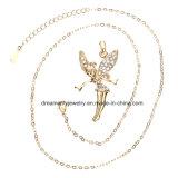 Juwelen van Hip Hop van de Halsband van de Tegenhanger van de Baby van de Engel van de Dans van het Bergkristal van Bling van de Kleur van het Roestvrij staal van de Tegenhanger van de Vleugels van de Engel van de Dans van de Vrouwen van mannen de Gouden Gouden