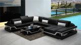 Moda Hogar moderno sofá de cuero negro con esquina (HC1110)