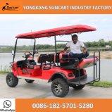 Carrello di golf di vendita caldo di Seater di colore rosso 6, carrello di golf elettrico da vendere, cacciante il carrello di golf con la sede piegata posteriore