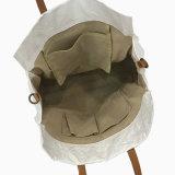 Bolso material lavado blanco del bolso de hombro del papel de Kraft (16A083)