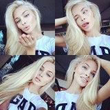 613 # perruque pleine laine blonde / perruque en dentelle