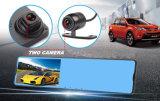 二重カメラが付いている車のブラックボックスのバックミラー車DVR