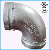 Homologué UL, homologation FM 90 rainuré Coude en fonte ductile