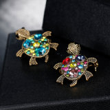 熱い販売の美しい方法多色刷りのタートルの動物のラインストーンの宝石類のブローチPin