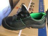 Sapato de segurança de trabalho com sola de couro em relevo com divisão superior PU