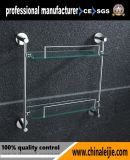 Accessorio di vetro elegante fissato al muro della stanza da bagno della mensola di doppio strato per l'hotel