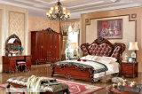 Königliche Art-Schlafzimmer-Möbel, ledernes Schlafzimmer-Set, Abziehvorrichtung, Garderobe, Nachtstandplatz (105)