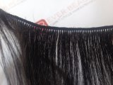 Tramas amarradas mão com o europeu não processado do cabelo brasileiro do Virgin