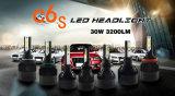 luz principal 3000k/6500k do diodo emissor de luz da ESPIGA C6s de 30W 3200lm H8/H9/H11 para a auto recolocação da lâmpada