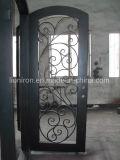 Portas de metal Porta de ferro forjado com vidro temperado de dupla tela