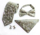 Mancuerna de seda de la pajarita del Mens de regalo del rectángulo el 100% del pañuelo de seda hecho a mano al por mayor de los lazos de seda fijada (ST005/006/007/008)