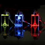 Эйфелева башня Keychains/кристаллический СИД освещает бирки держателей ключа логоса лазера/подарков сувенира ключевые