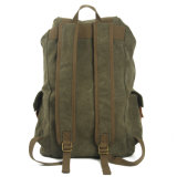 Grüne Farbe Washed Canvas-Schule-Rucksack (RS-2080A)