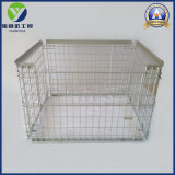 Warehouse Metal Folding Wire Mesh Container Cages avec bois Base en plastique