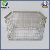 Metal de almacén Contenedor de malla de alambre plegable de madera de jaulas con Base de plástico