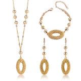 Conjunto de la joyería del cristal plateado del oro del pendiente 18K de la pulsera de la manera de las señoras