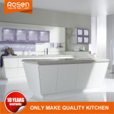 Blanco de alta gama de diseño de la isla de trapezoide kitchen cabinet
