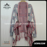 Plaid Pattern Tassels Tricoté Waterfall Cardigan Women Coat