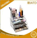 Compteur cosmétique d'étalage de renivellement acrylique en plastique clair fait sur commande