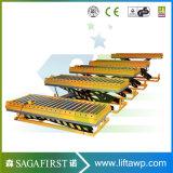 2ton 1m 정지되는 유압 목제 롤러 테이블 컨베이어 상승