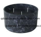Blanco/Gris / negro / 15 x H6cm tarro de mármol de la serie de Vidrio Velas Aromáticas de fragancias Camellia japonica