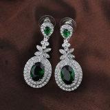 Conjunto esmeralda blanco de la joyería de la CZ de la venta al por mayor del Zircon del verde del chapado en oro