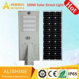 Outdoor 100W à LED solaire intégré de la rue du jardin d'inondation de la lumière avec télécommande